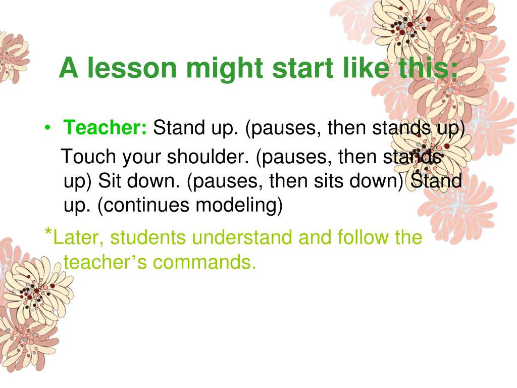 A lesson might start like this: