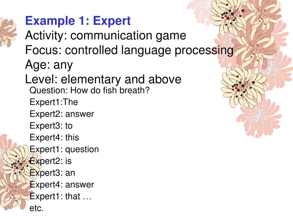 Example 1: Expert