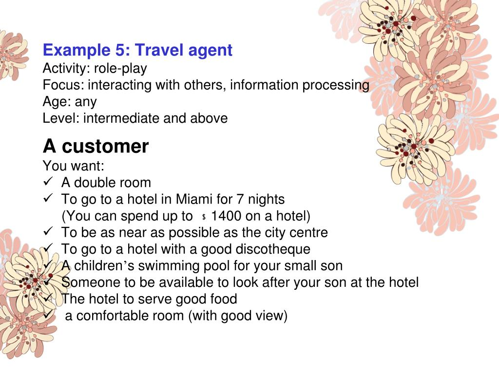 Example 5: Travel agent