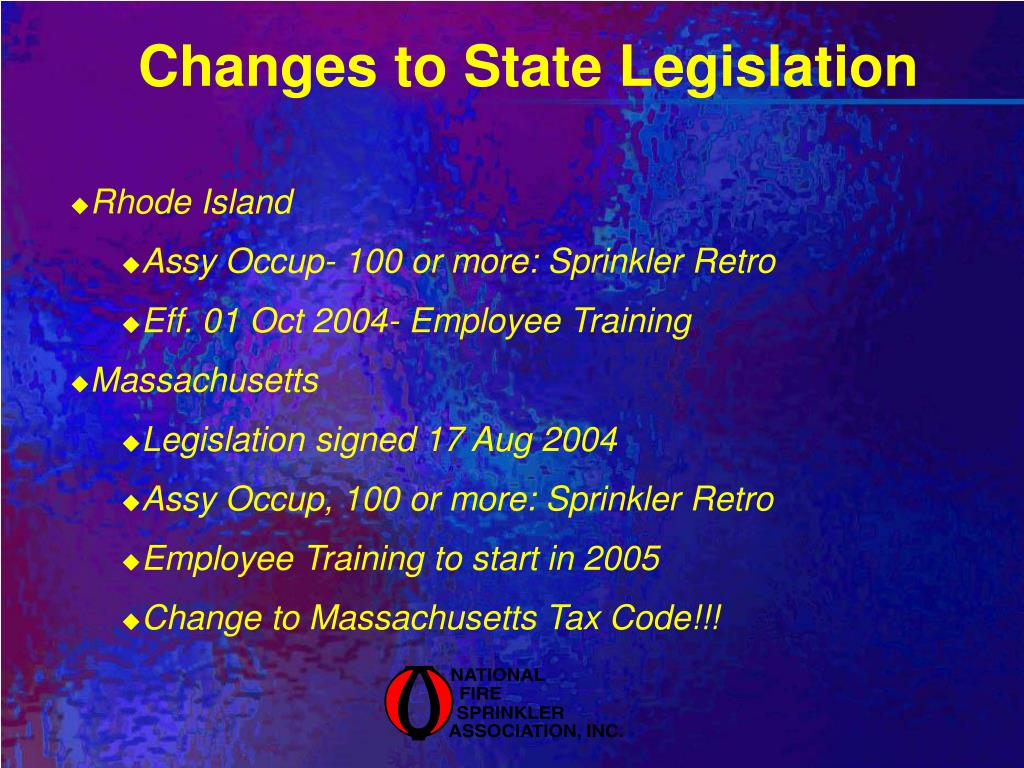 Changes to State Legislation