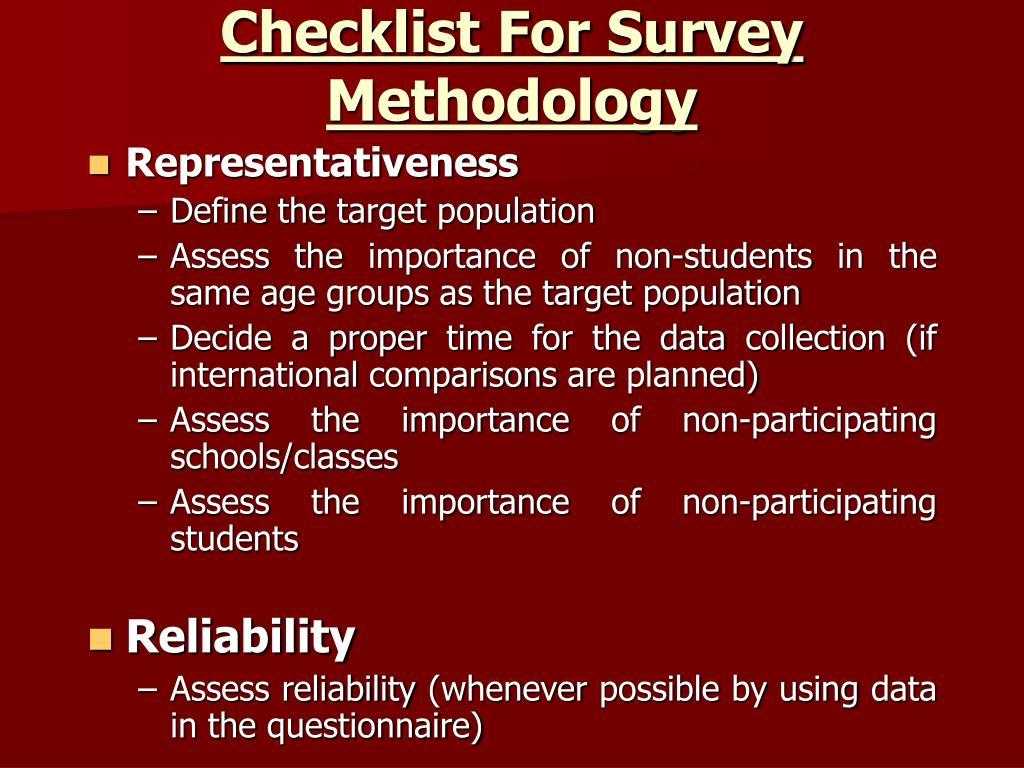 Checklist For Survey Methodology