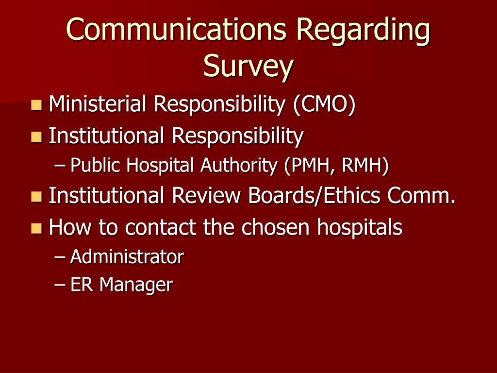 Communications Regarding Survey