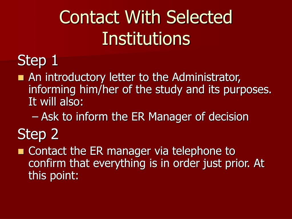 Contact With Selected Institutions
