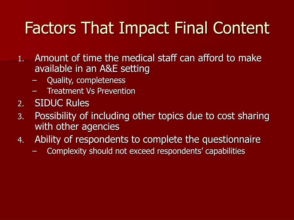 Factors That Impact Final Content