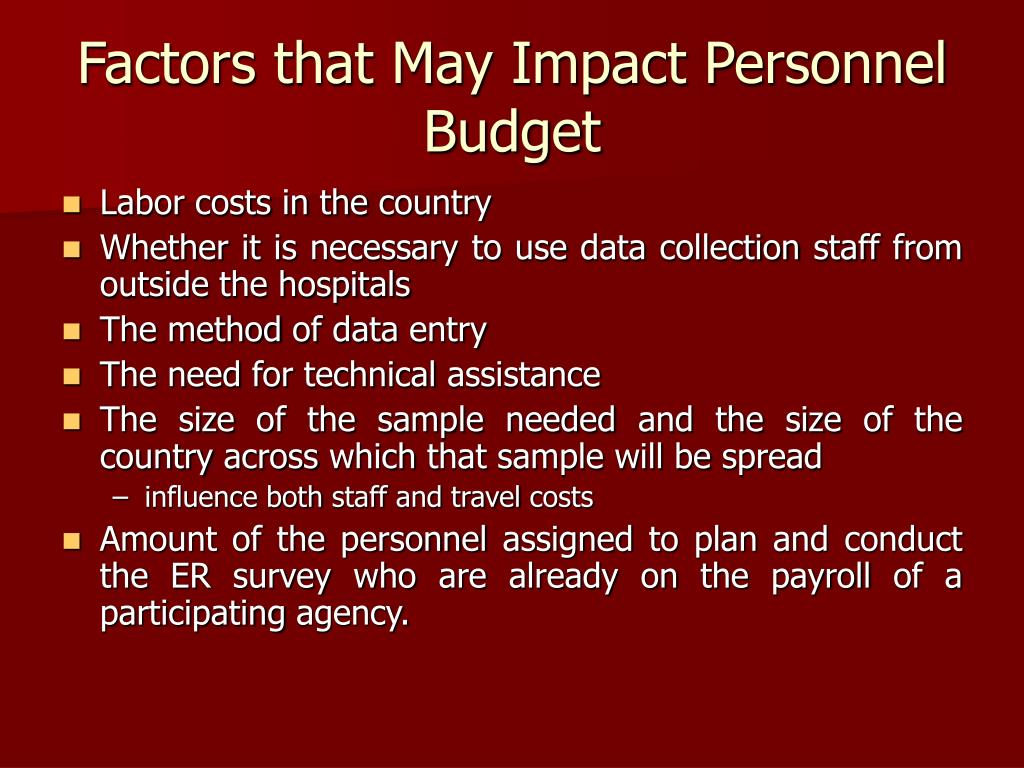 Factors that May Impact Personnel Budget