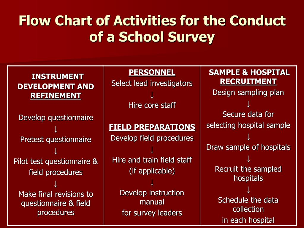 Flow Chart of Activities for the Conduct of a School Survey