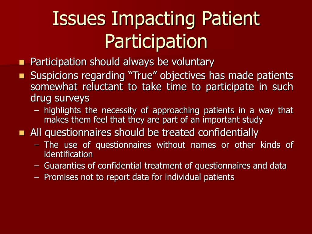 Issues Impacting Patient Participation