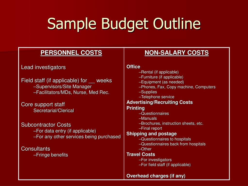 Sample Budget Outline