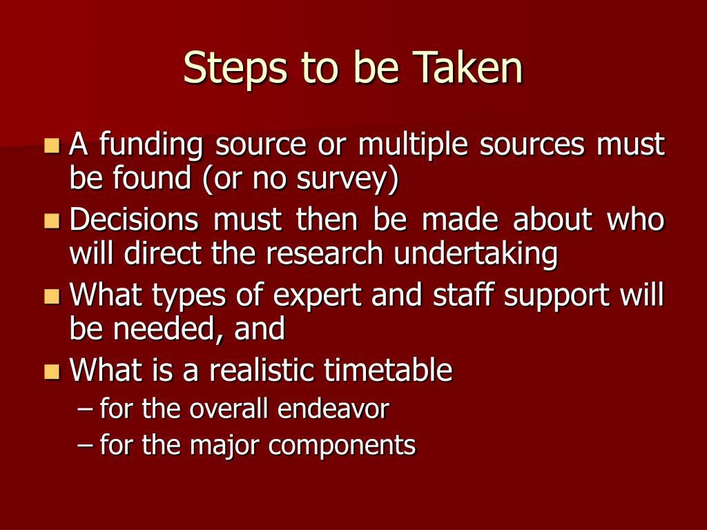 Steps to be Taken