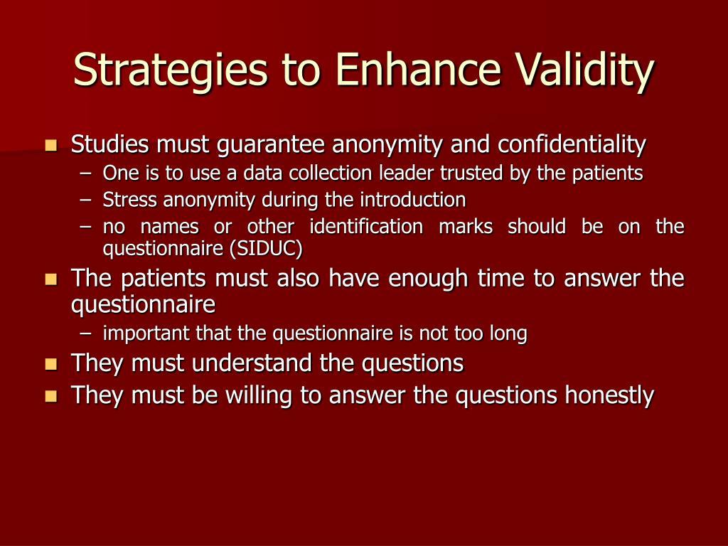 Strategies to Enhance Validity