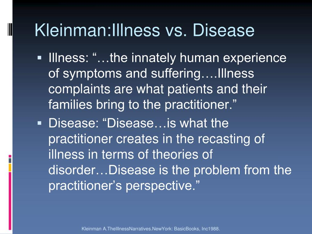 Kleinman:Illness vs. Disease