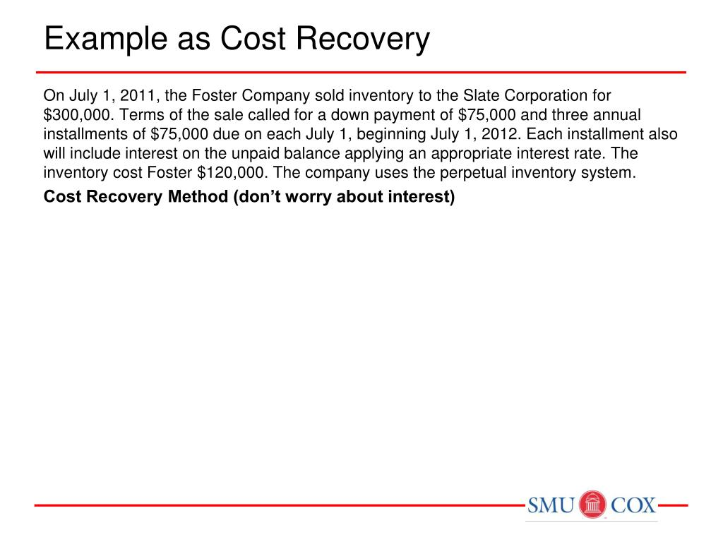 Example as Cost Recovery
