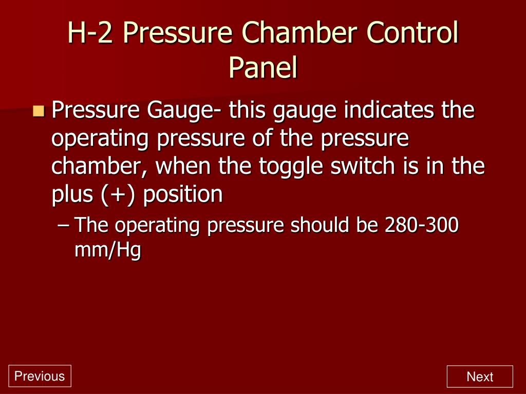 H-2 Pressure Chamber Control Panel