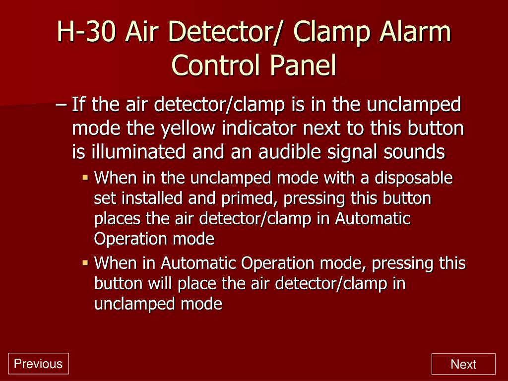 H-30 Air Detector/ Clamp Alarm Control Panel