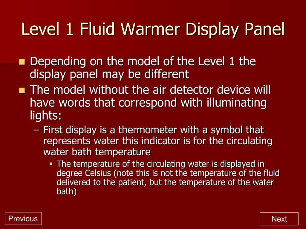 Level 1 Fluid Warmer Display Panel