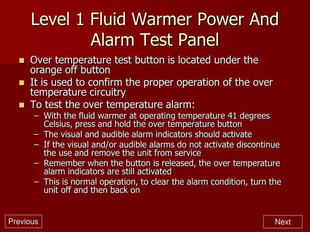 Level 1 Fluid Warmer Power And Alarm Test Panel