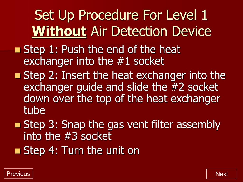 Set Up Procedure For Level 1