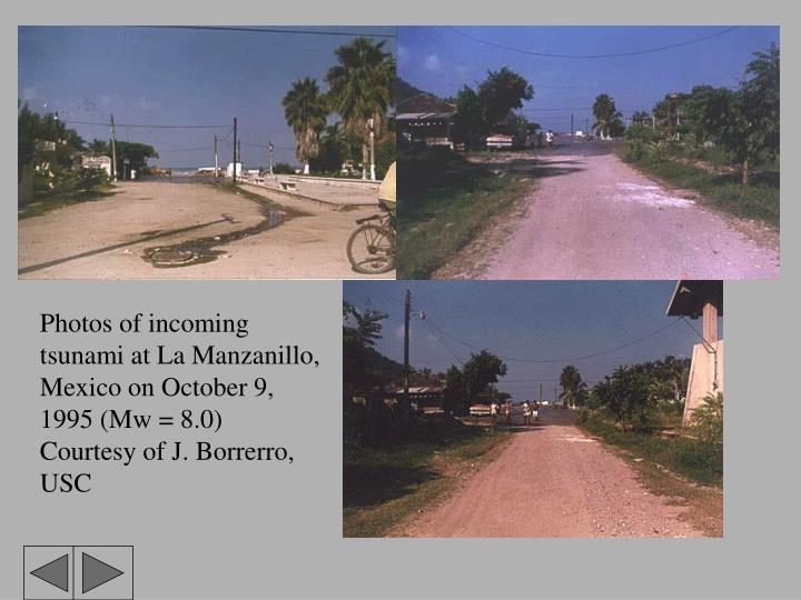 Photos of incoming tsunami at La Manzanillo, Mexico on October 9, 1995 (Mw = 8.0)