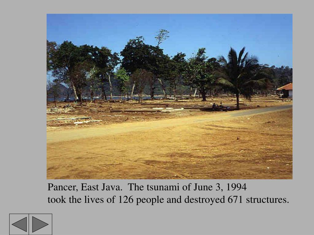 Pancer, East Java.  The tsunami of June 3, 1994