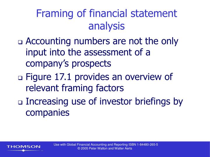 Framing of financial statement analysis