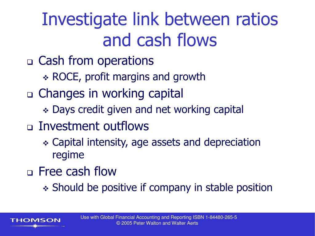 Investigate link between ratios and cash flows