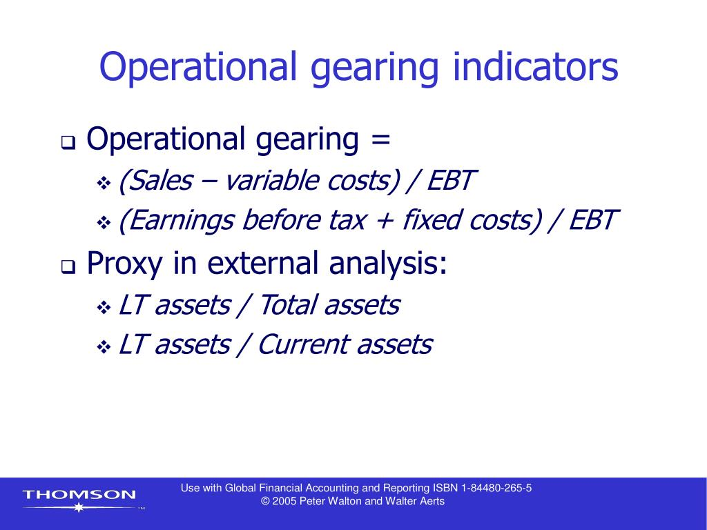 Operational gearing indicators