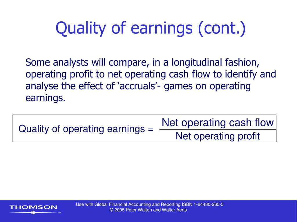 Quality of earnings (cont.)