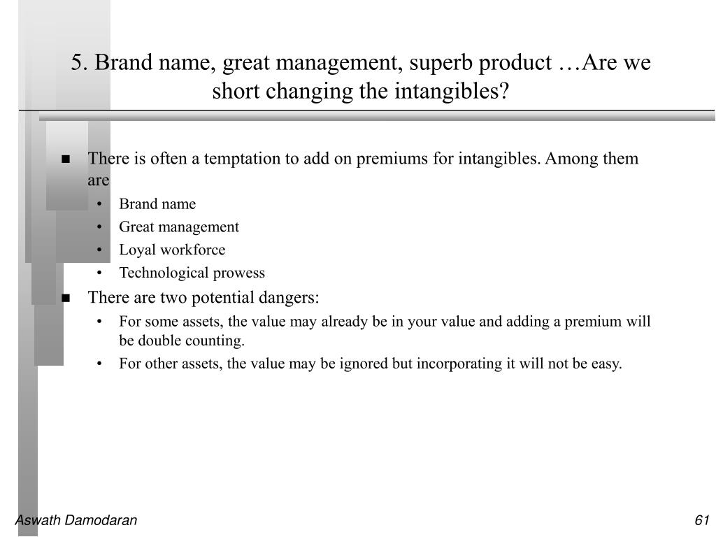 5. Brand name, great management, superb product …Are we short changing the intangibles?