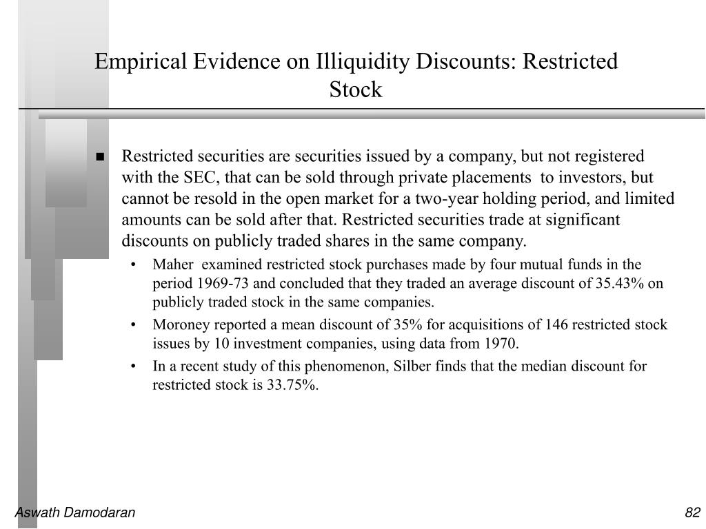 Empirical Evidence on Illiquidity Discounts: Restricted Stock