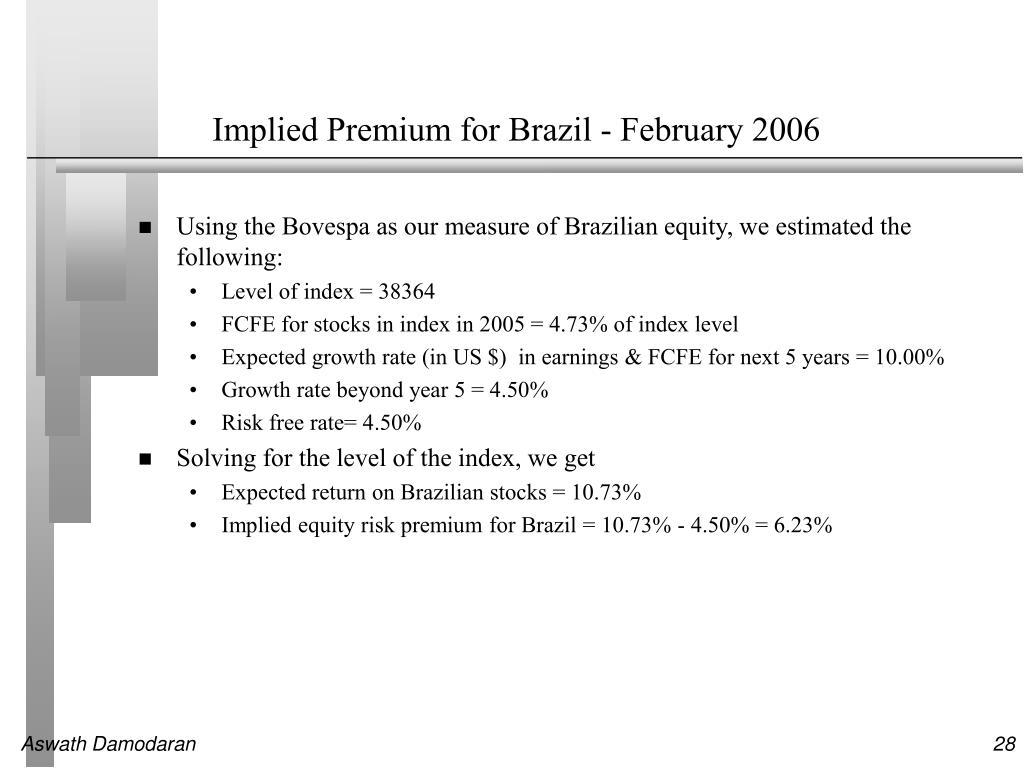 Implied Premium for Brazil - February 2006