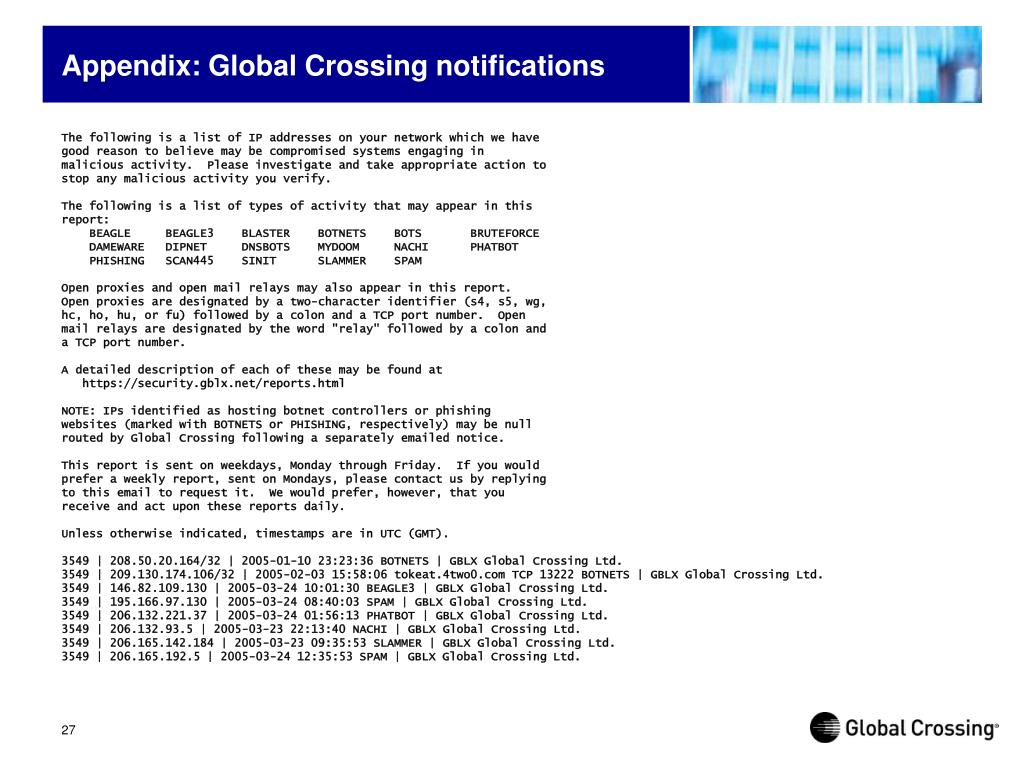 Appendix: Global Crossing notifications