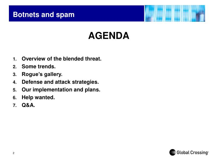Botnets and spam