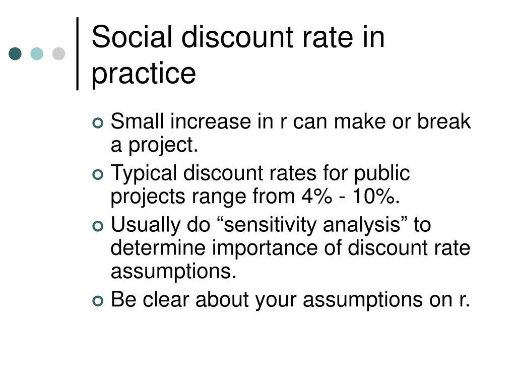 Social discount rate in practice
