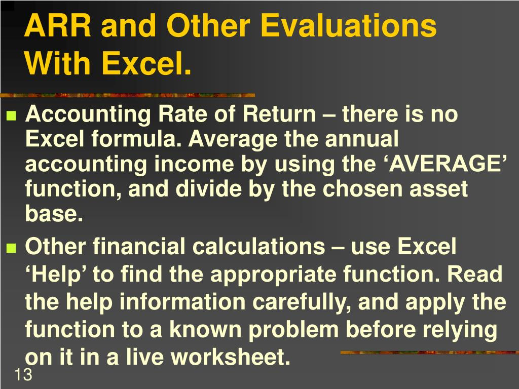 ARR and Other Evaluations With Excel.