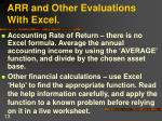 arr and other evaluations with excel