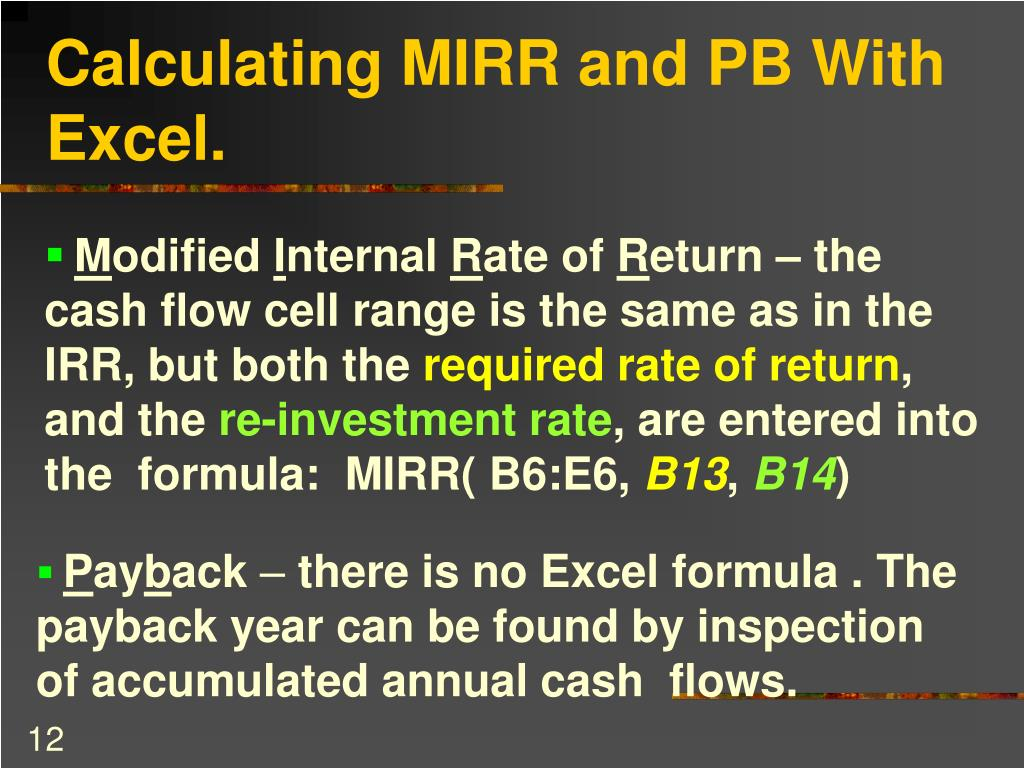 Calculating MIRR and PB With Excel.