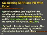 calculating mirr and pb with excel