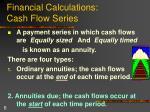 financial calculations cash flow series