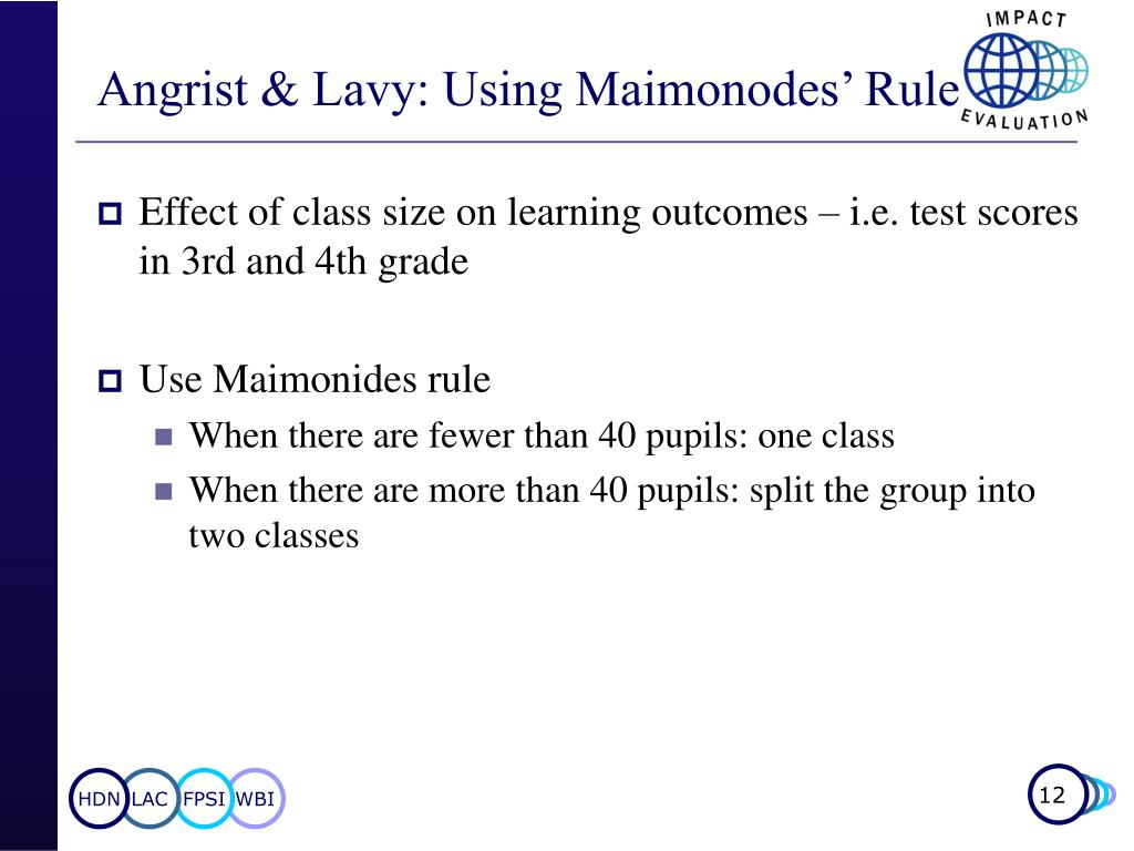 Angrist & Lavy: Using Maimonodes' Rule