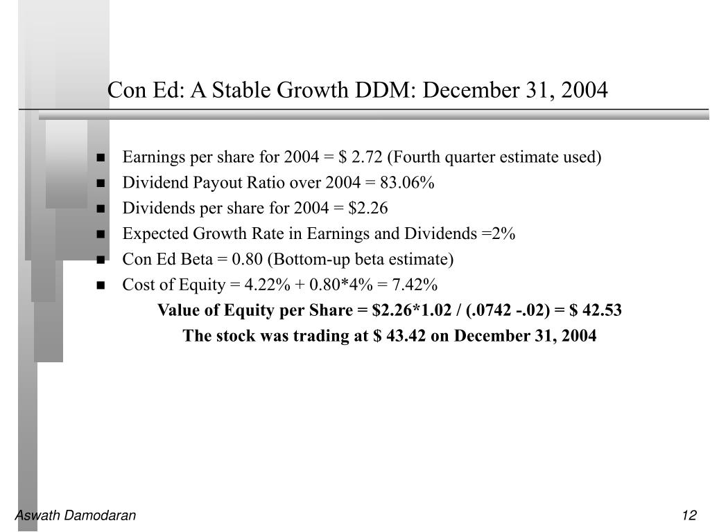 Con Ed: A Stable Growth DDM: December 31, 2004