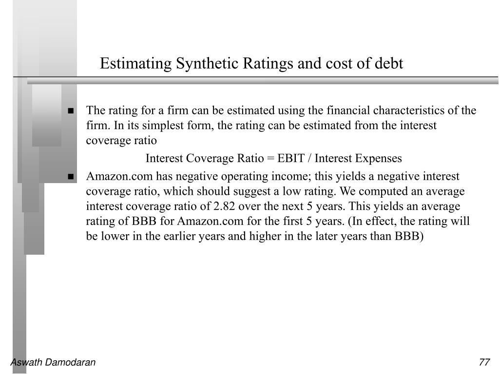 Estimating Synthetic Ratings and cost of debt