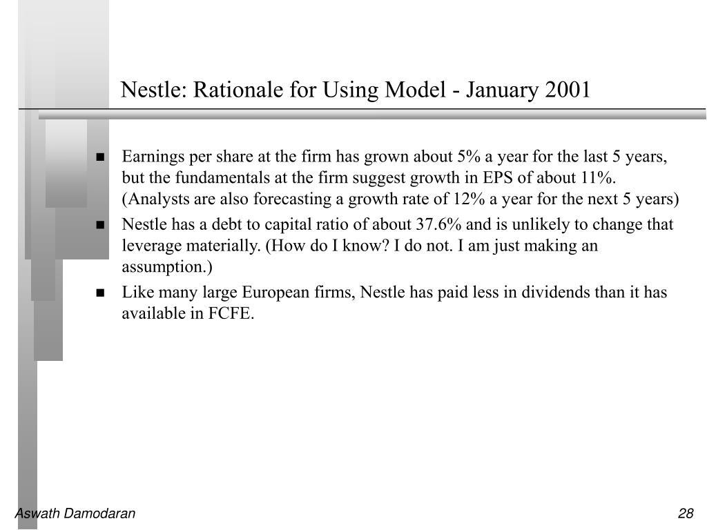 Nestle: Rationale for Using Model - January 2001