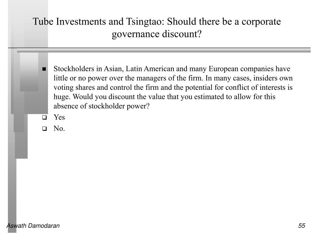 Tube Investments and Tsingtao: Should there be a corporate governance discount?