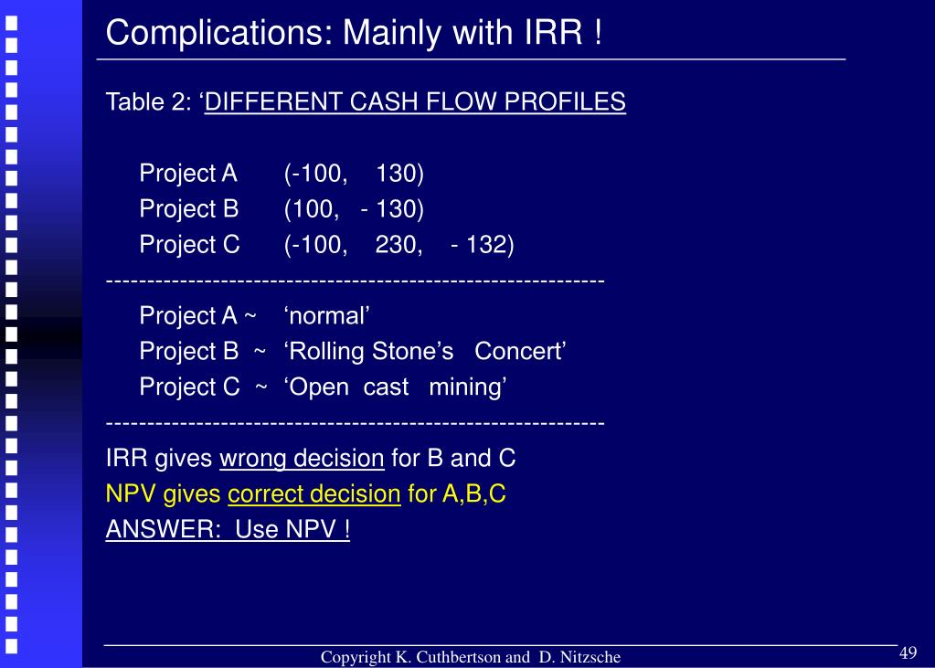 Complications: Mainly with IRR !