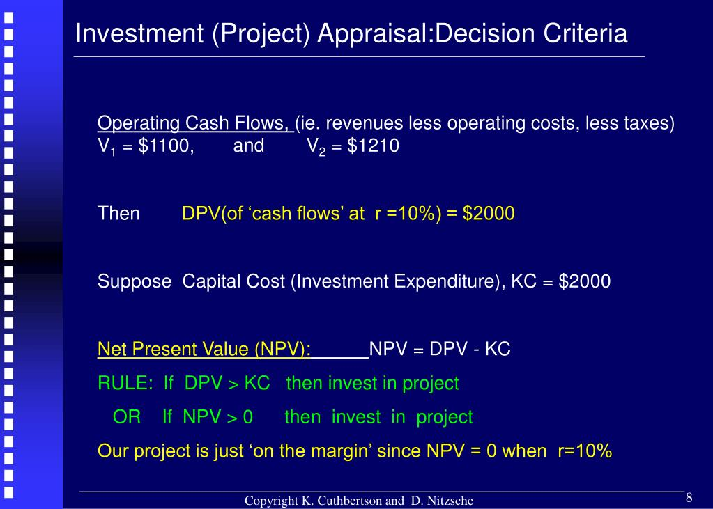 Investment (Project) Appraisal:Decision Criteria