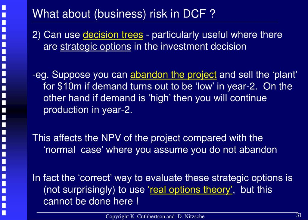 What about (business) risk in DCF ?