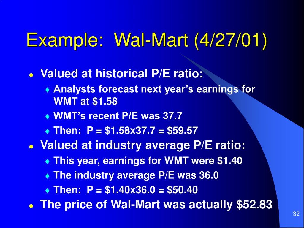 Example:  Wal-Mart (4/27/01)