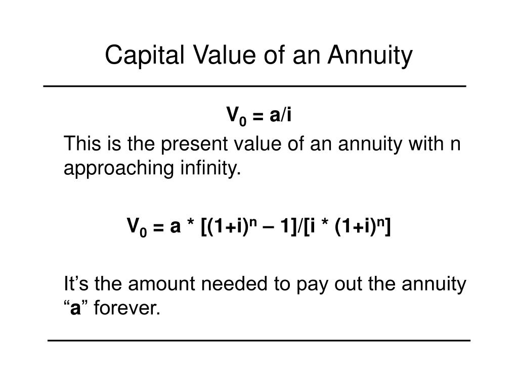 Capital Value of an Annuity