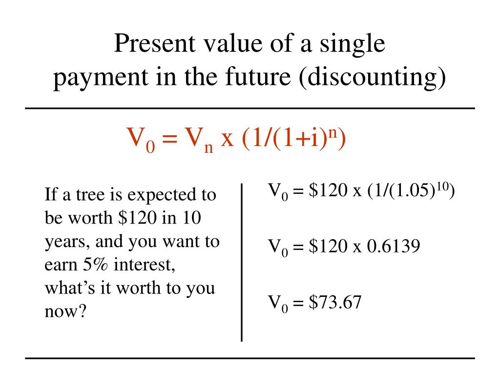 If a tree is expected to be worth $120 in 10 years, and you want to earn 5% interest, what's it worth to you now?