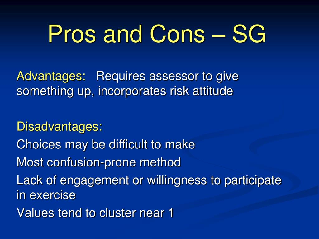 Pros and Cons – SG